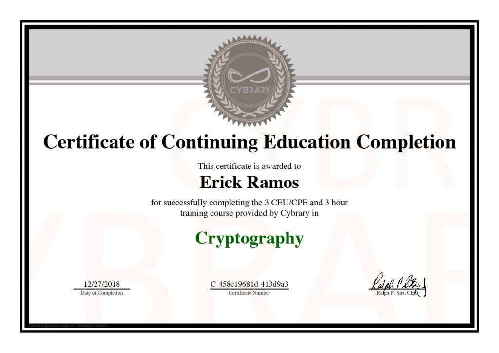 Cryptography, Erick Ramos, Certification, Cyber Security, Cybersecurity, PenTest, Penetration Testing, Encryption
