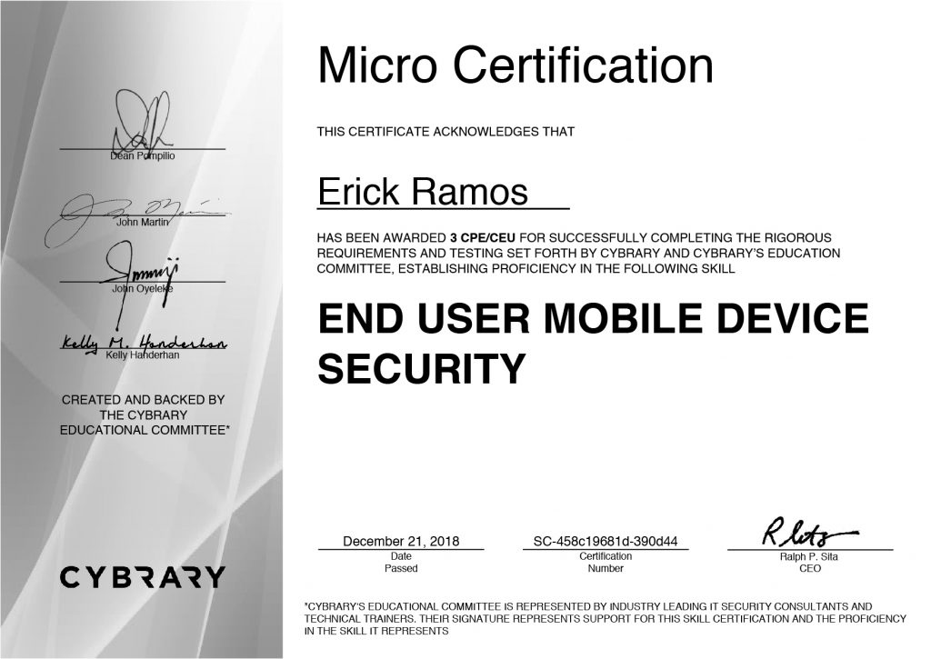 Mobile Device Security, Erick Ramos, Certification, Cyber Security, Cybersecurity, PenTest, Penetration Testing, Vulnerabilities
