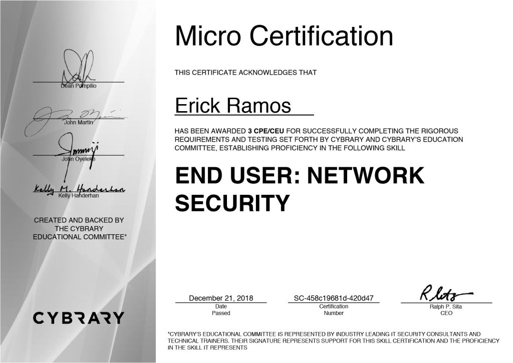 Network Security, Erick Ramos, Certification, Cyber Security, Cybersecurity, Networking