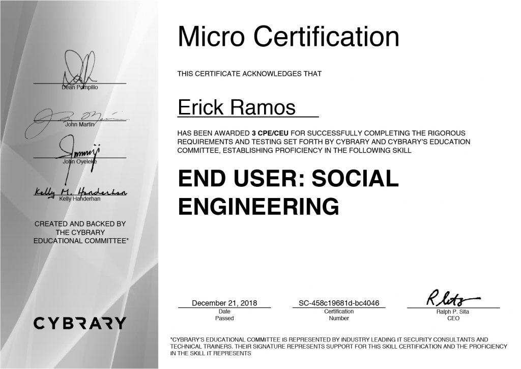 Social Engineering, Erick Ramos, Certification, Cyber Security, Cybersecurity, Physical Attacks