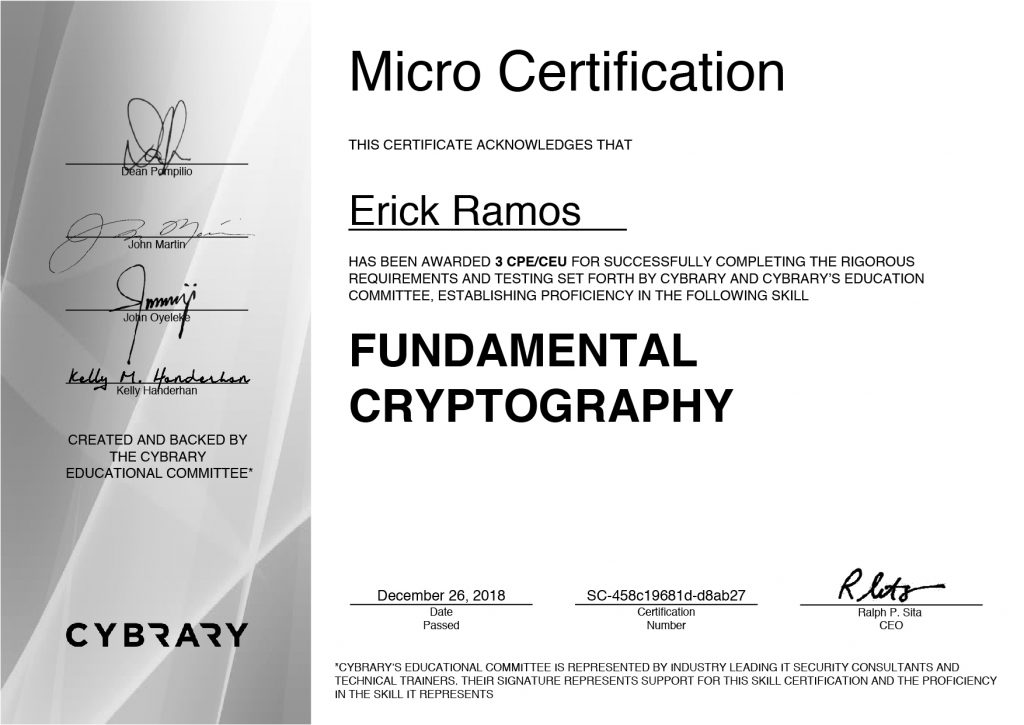 Cryptography, Erick Ramos, Certification, Cyber Security, Cybersecurity, Encryption
