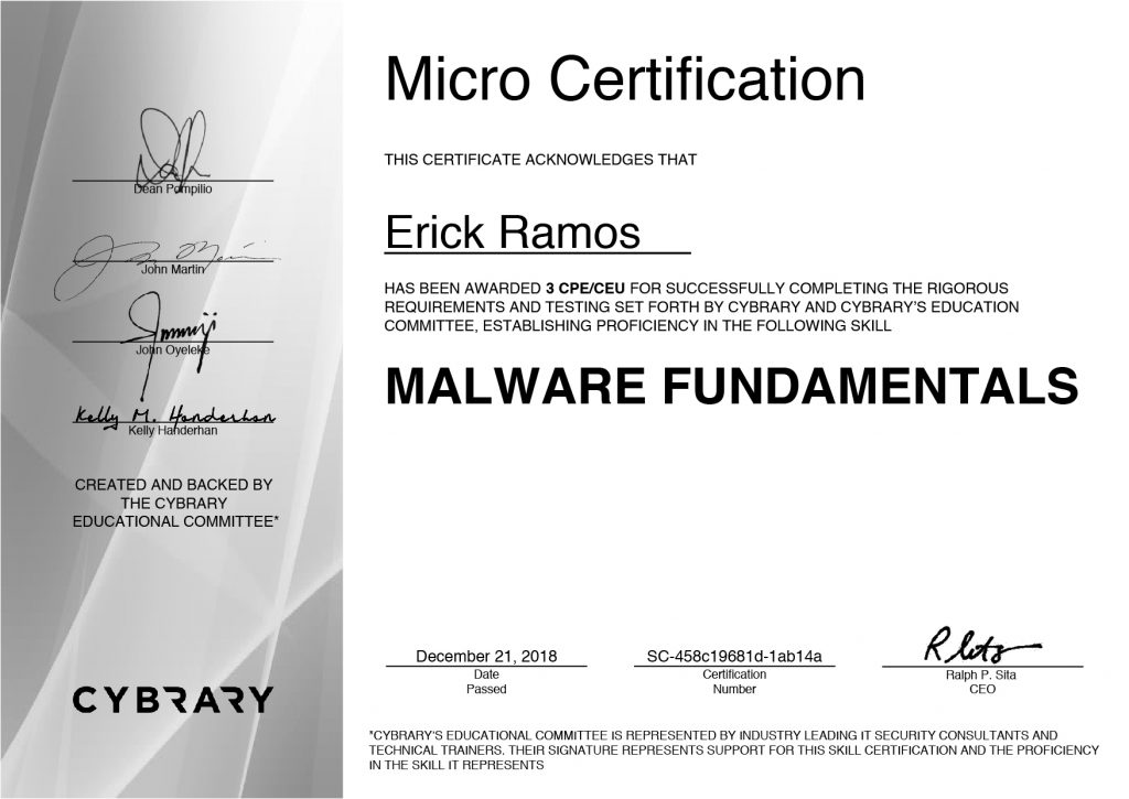 Malware, Erick Ramos, Certification, Cyber Security, Cybersecurity, PenTest, Penetration Testing, Vulnerabilities