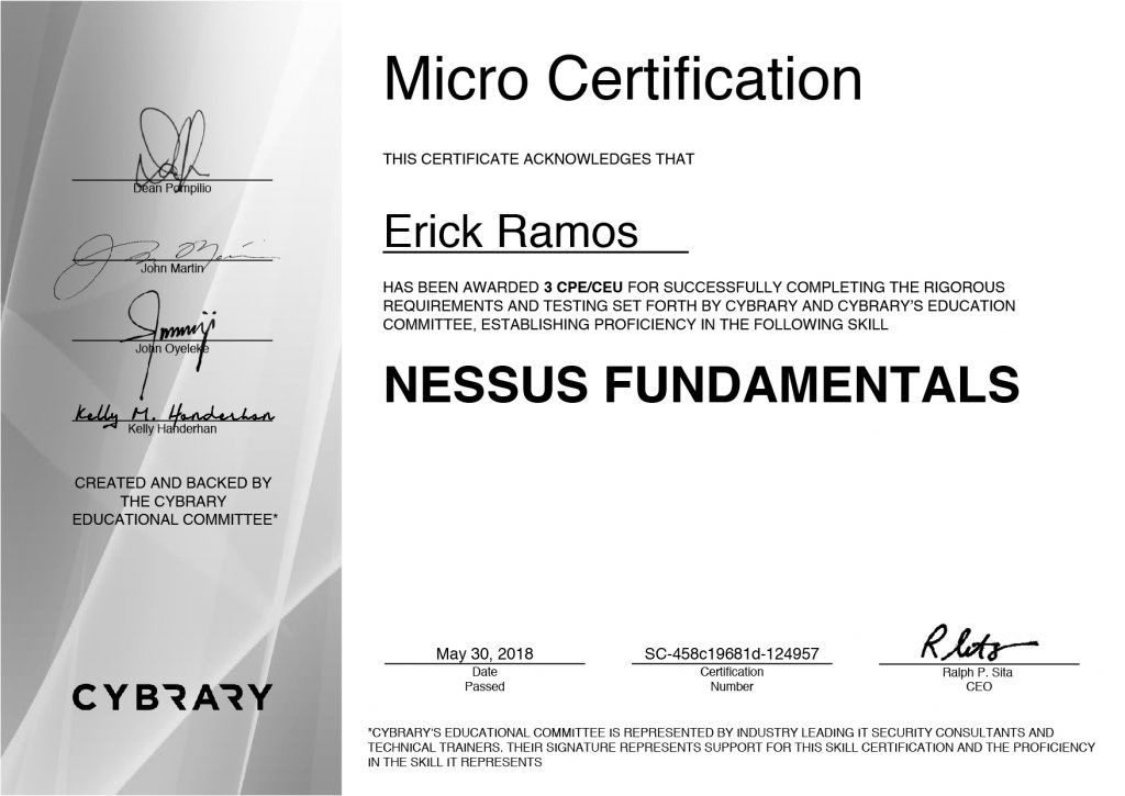 Nessus, Tenable, Erick Ramos, Certification, Cyber Security, Cybersecurity, PenTest, Penetration Testing, Vulnerabilities Management