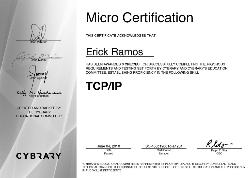 TCP/IP, Erick Ramos, Certification, Cyber Security, Cybersecurity, Networking