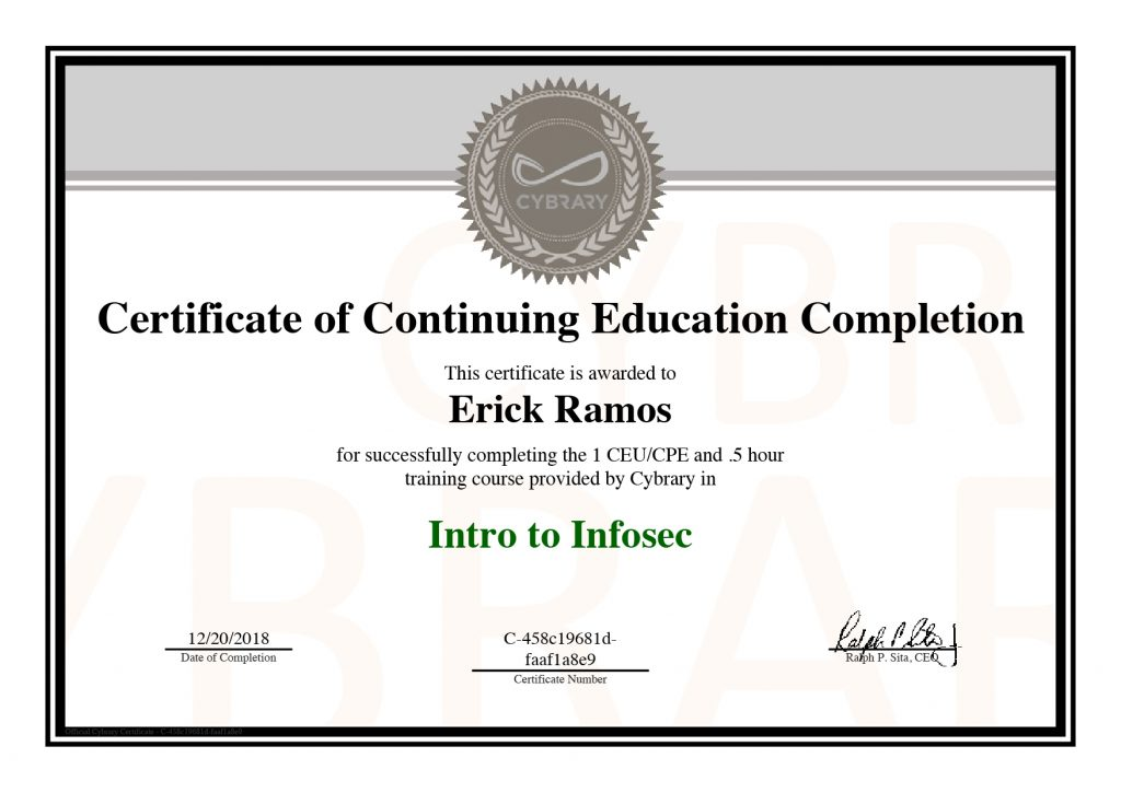 Infosec, Erick Ramos, Certification, Cyber Security, Cybersecurity, Information Security