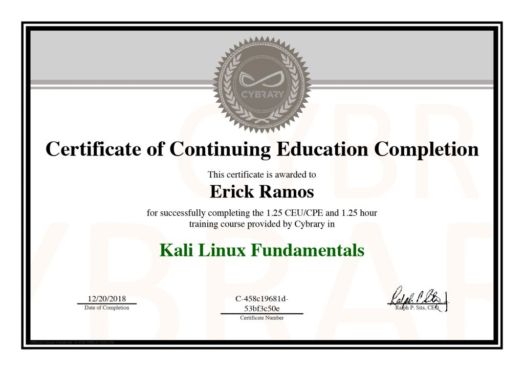 Kali Linux, Erick Ramos, Certification, Cyber Security, Cybersecurity, PenTest, Penetration Testing, Linux