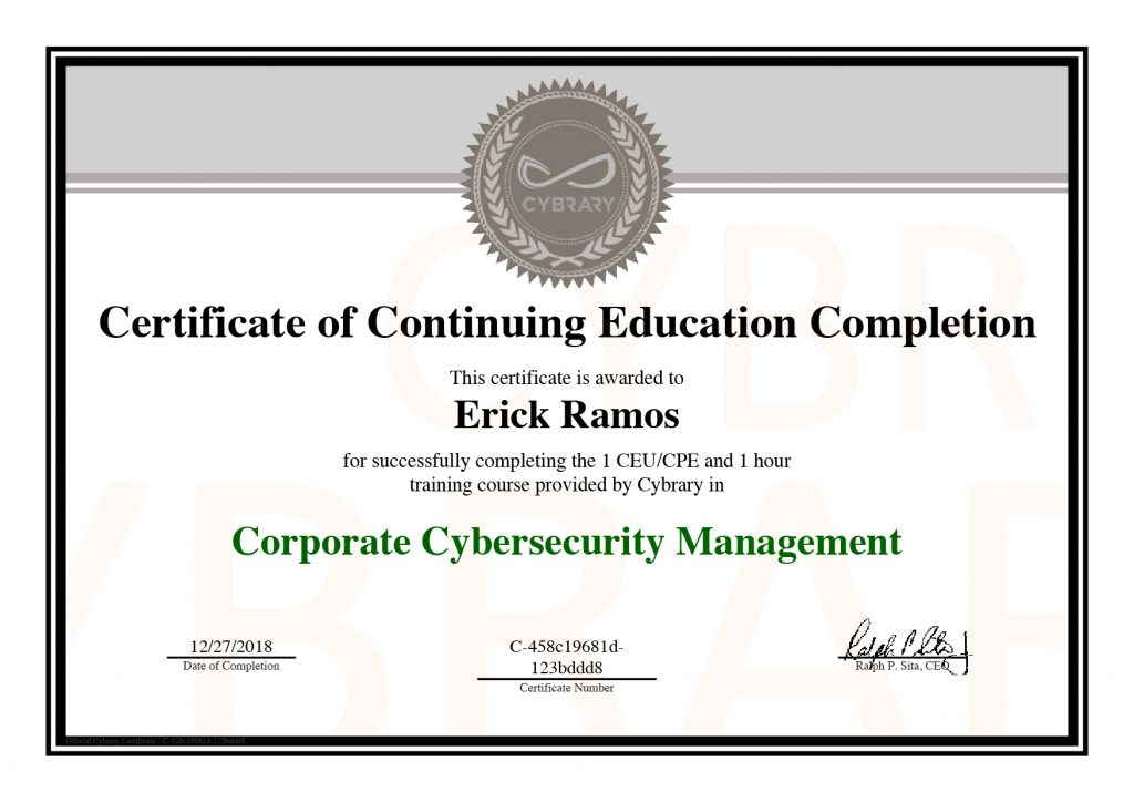 Corporate Cybersecurity Management, Erick Ramos, Certification, Cyber Security, Cybersecurity