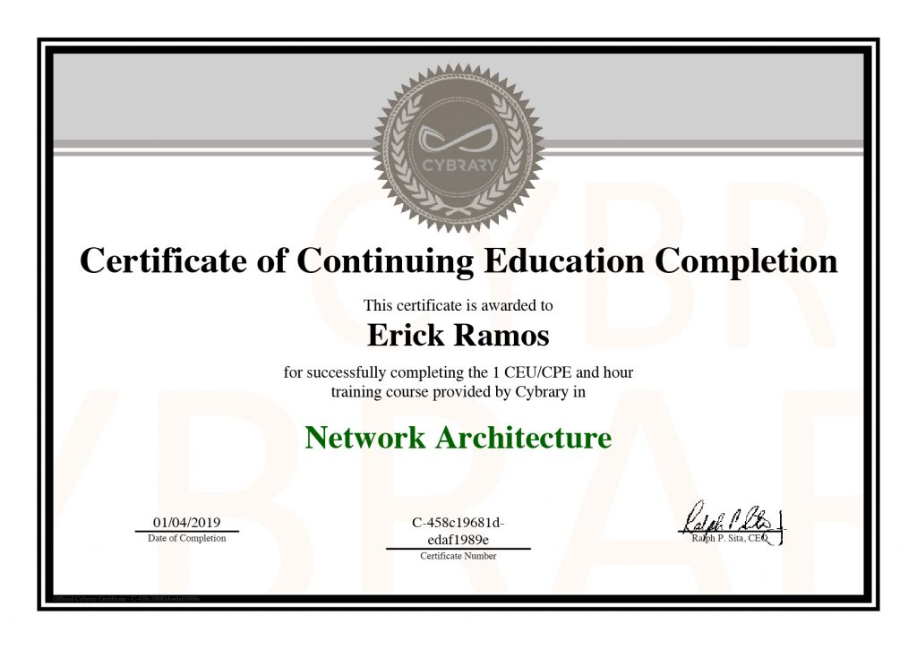 Network Architecture, Erick Ramos, Certification, Cyber Security, Cybersecurity, Networking
