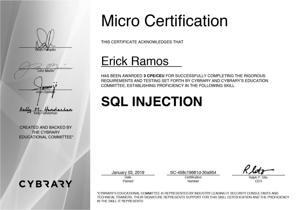SQL Injection, Erick Ramos, Certification, Cyber Security, Cybersecurity, PenTest, Penetration Testing