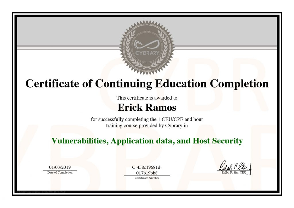 Vulnerabilities, Application Data, Host Security, Erick Ramos, Certification, Cyber Security, Cybersecurity