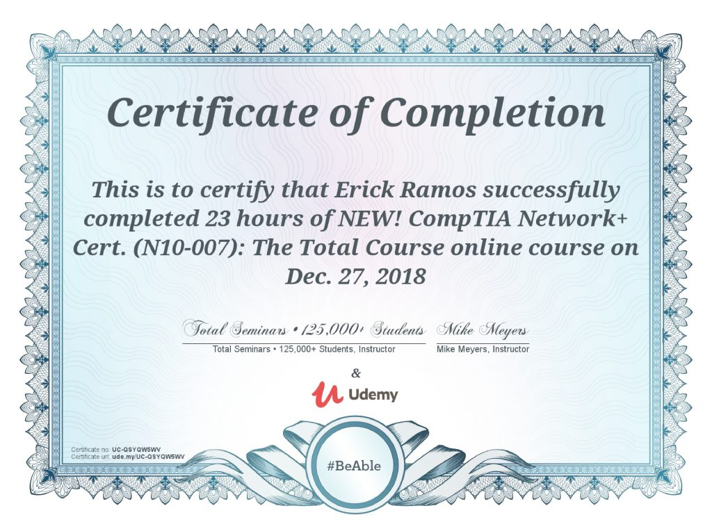 Network+, Erick Ramos, Certification, Cyber Security, Cybersecurity, Networking