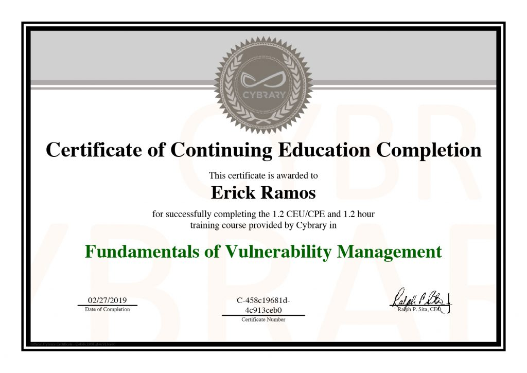 Fundamentals of Vulnerability Management, Erick Ramos, Certification, Cyber Security, Cybersecurity, Vulnerabilities